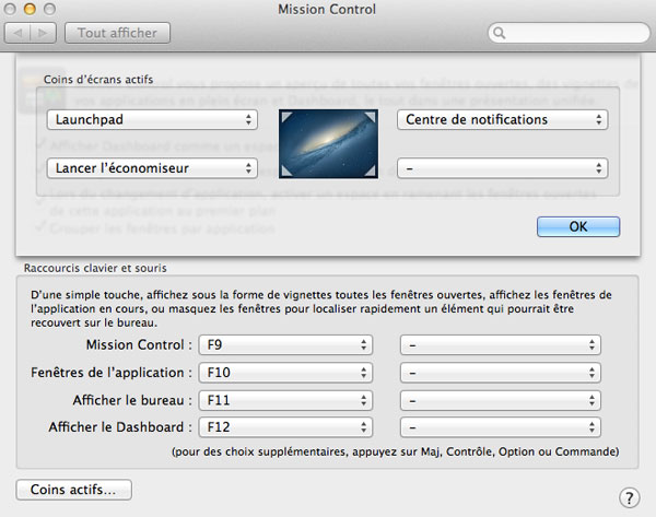 "Le Centre de notification sous Mac OS X est accessible et configurable par ""coins actifs"" du Mission Control"