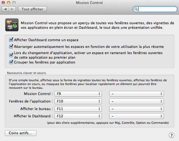 Mission control d'OS X Mountain Lion vous permet de configurer le Centre de notification