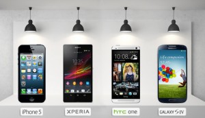 Comparatif entre iPhone 5, Sony Xperia, HTC one et Galaxy S4